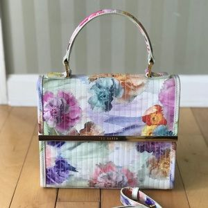 Ted Baker patent leather floral bag/purse w/ strap